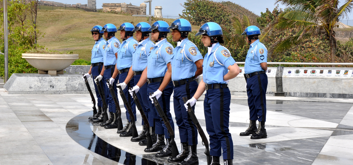 Policias en formacion de saludo